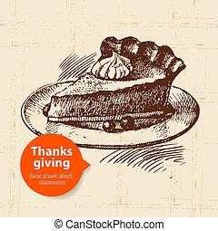 型, 感謝祭, イラスト, 手, 引かれる, 日