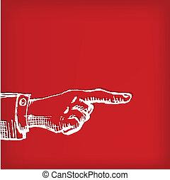 型, 手, 図画, 指すこと, レトロ