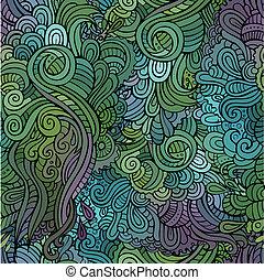 型, 抽象的, seamless, ベクトル, パターン, 花
