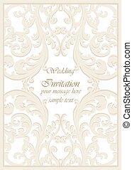 型, 招待, クラシック, カード, 結婚式