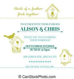 型, 招待, -, ベクトル, 結婚式, カード
