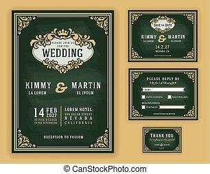 型, 招待, 贅沢, 黒板, 背景, 結婚式