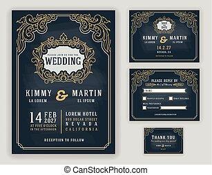 型, 招待, 贅沢, 黒板, 背景, 結婚式, 優美である