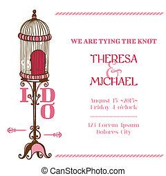 型, 招待, -, 鳥, 主題, ベクトル, 結婚式, スクラップブック, ケージ, デザイン, カード