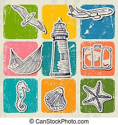 型, 旅行, セット, 海, icons.