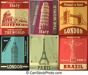 型, 旅行, デザインを設定しなさい, ポスター