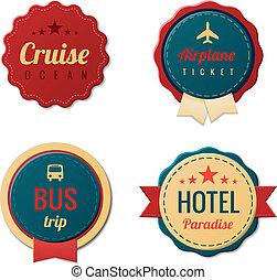 型, 旅行, ラベル, テンプレート, collection., stickers., 観光事業