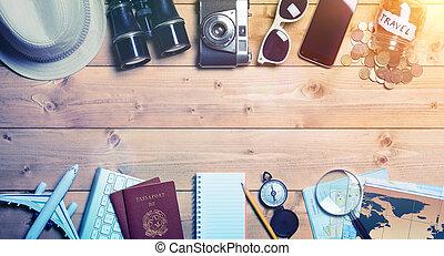 型, 旅行, -, 効果, ホリデー, 準備, 計画, 旅行