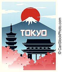 型, 旅行, 東京, ポスター