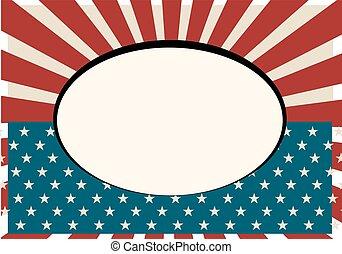 型, 旗, 古い, フレーム, アメリカ
