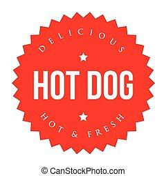 型, 暑い, ベクトル, 犬, ラベル