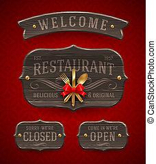 型, 木製である, レストラン, サイン