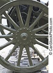 型, 木製である, 車輪, の, ∥, 銃