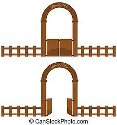 型, 村, ∥あるいは∥, 農場, 木製である, 門, アーチ意匠, ∥で∥, fence.