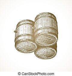 型, 樽, 背景, ベクトル, illustration., 引かれる, 木製である, ペーパー, 手, -
