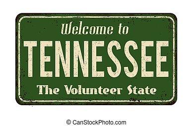 型, 歓迎, 金属の印, 錆ついた, テネシー州