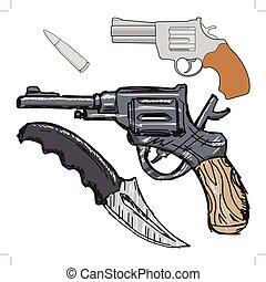 型, 武器, セット, 手