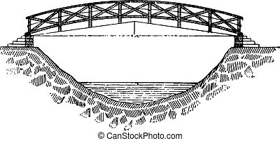 型, 歩道橋, engraving.