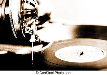型, 浅い, レコードプレーヤー, lithprint, フィールド, 深さ