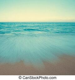 型, 浜 場面, 日没