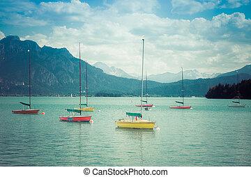 型, 湖, レトロ, 小さい, ヨット, anchoring., 山。, style., 高山