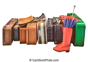 型, 白い靴, 隔離された, スーツケース