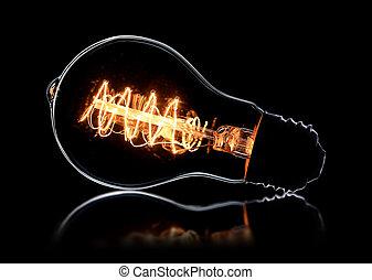 型, 白熱, 黒, 電球, ライト