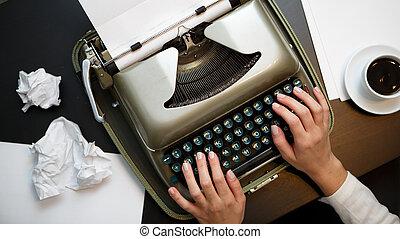 型, 白, ペーパー, タイプライター