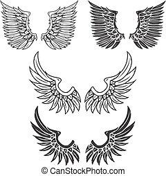 型, 白, 隔離された, 翼, バックグラウンド。
