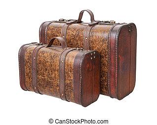 型, 白, 2, 隔離された, スーツケース