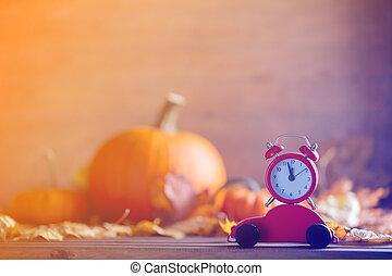 型, 目覚し 時計, そして, カエデの木, 葉, ∥で∥, わずかしか, カート, おもちゃ