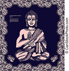 型, 瞑想, 仏, イラスト