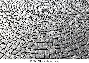 型, 石, 通り, 舗装, 道