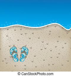 型, 砂, 背景, 夏