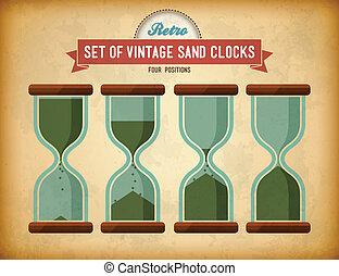 型, 砂, clocks, セット
