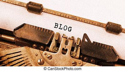 型, 碑文, 作られた, によって, 古い, タイプライター