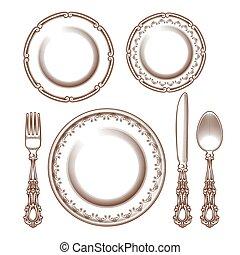 型, 磁器製品, セット, cutlery, 銀