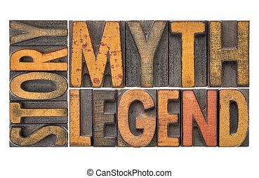 型, -, 神話, 木, 言葉, タイプ, 伝説, 物語
