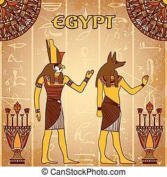 型, 神, ポスター, エジプト人