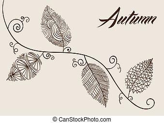 型, 秋シーズン, composition., 手, 引かれる, カール, 木の枝, そして, 葉,...