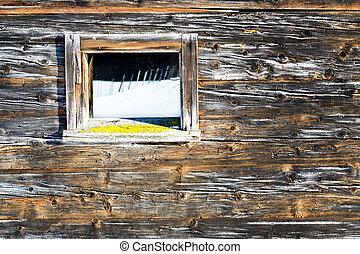型, 窓, の, 古い, 木製である, キャビン, 鏡, 冬, 景色。, 木製である, 無作法, バックグラウンド。