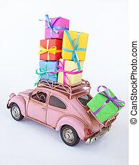 型, 箱, 贈り物, 自動車
