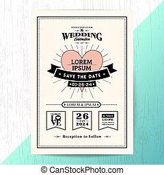 型, 結婚式の招待, 日付, を除けば, カード