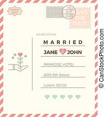 型, 結婚式, カード, テンプレート, 招待