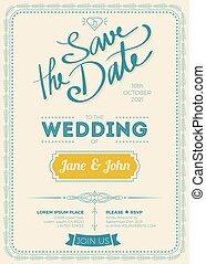 型, 結婚式, カード, 招待