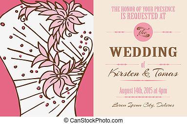 型, 結婚式, -, ベクトル, 招待, スクラップブック, デザイン, カード