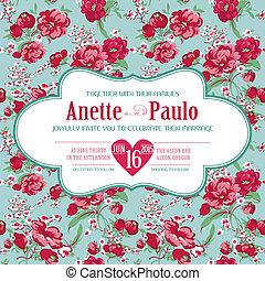 型, 結婚式, -, ベクトル, 招待, 花のパターン, カード