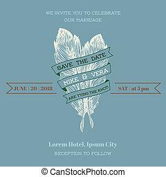 型, 結婚式, -, 主題, ベクトル, 招待, 羽, カード