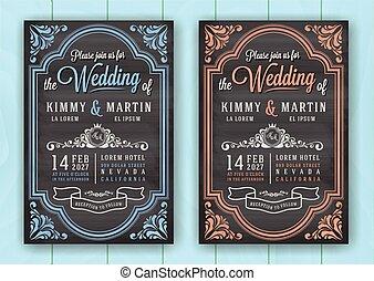 型, 結婚式, 黒板, テンプレート, 招待, カード