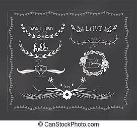 型, 結婚式, 黒板, florals